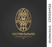 golden flower emblem. elegant ... | Shutterstock .eps vector #1334264426