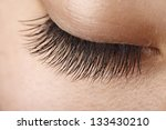 closeup view of eye lashes | Shutterstock . vector #133430210