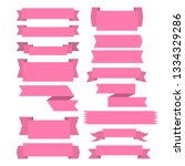set of pink ribbon banner icon... | Shutterstock .eps vector #1334329286