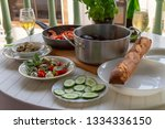 mediterranean dinner with clams ... | Shutterstock . vector #1334336150