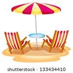 Illustration Of A Stripe Beach...