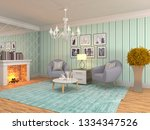interior with chair. 3d... | Shutterstock . vector #1334347526