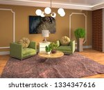 interior with chair. 3d...   Shutterstock . vector #1334347616