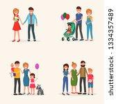 set of family history moments...   Shutterstock .eps vector #1334357489