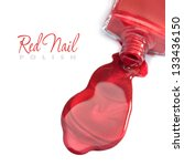 red nail polish on a white... | Shutterstock . vector #133436150