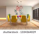 interior dining area. 3d... | Shutterstock . vector #1334364029