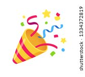 exploding party popper with... | Shutterstock . vector #1334372819