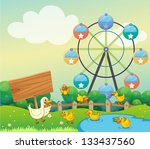 illustration of a mother duck... | Shutterstock . vector #133437560
