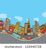 funny cartoon city with cop... | Shutterstock .eps vector #133440728