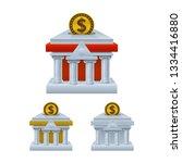 bank building shaped piggy bank ... | Shutterstock .eps vector #1334416880