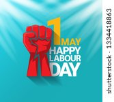 1 may   happy labour day.... | Shutterstock .eps vector #1334418863
