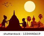 Childrean throw water each other and build sand pagoda in Song kran day famous festival of Thailand Loas Myanmar and Cambodia,new year,silhouette design,vector illustration