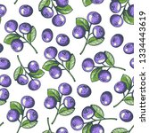 blueberry seamless pattern.... | Shutterstock .eps vector #1334443619