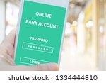 hand using smartphone with... | Shutterstock . vector #1334444810