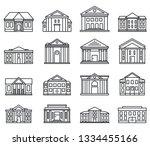 City Courthouse Icons Set....