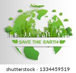 paper art style of landscape...   Shutterstock .eps vector #1334459519