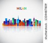 milan skyline silhouette in...   Shutterstock .eps vector #1334487809