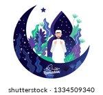 muslim man in traditional... | Shutterstock .eps vector #1334509340