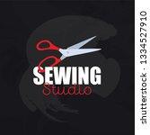 red scissors isolated on... | Shutterstock .eps vector #1334527910