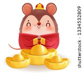 little rat with holding chinese ... | Shutterstock .eps vector #1334532809