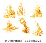 Set Of Orange Flames Isolated...