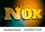 Forex candlestick pattern. Trading chart concept. Financial market chart. Norwegian krone symbol. 3D rendering - stock photo