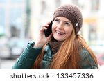 happy young woman calling by... | Shutterstock . vector #133457336
