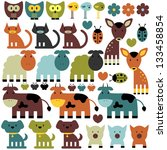 set of funny various colorful... | Shutterstock .eps vector #133458854