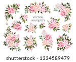 set of bouquets pale pink and... | Shutterstock .eps vector #1334589479