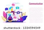 communication via internet... | Shutterstock .eps vector #1334594549