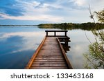 Wooden Pier On Big Lake In...
