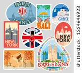travel stickers. various world... | Shutterstock .eps vector #1334646923