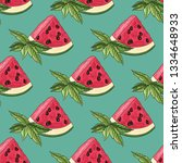 watermelon pattern. watermelon... | Shutterstock .eps vector #1334648933