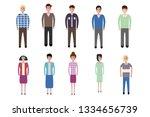 set of full body diverse...   Shutterstock .eps vector #1334656739
