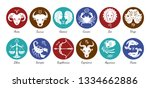 zodiac signs icon set. aries ... | Shutterstock .eps vector #1334662886