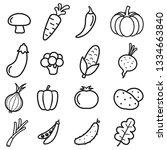 vegetables icon set on white... | Shutterstock .eps vector #1334663840