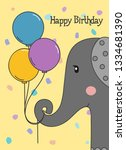 happy birthday greeting card... | Shutterstock .eps vector #1334681390