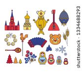 russia colored icons background ... | Shutterstock .eps vector #1334688293