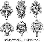 symmetric ganesha masks. set of ... | Shutterstock .eps vector #133468928