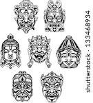 hindu deity masks. set of black ... | Shutterstock .eps vector #133468934