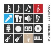 set of icons on a theme music.... | Shutterstock .eps vector #133469090