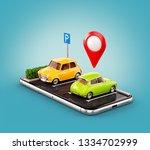 unusual 3d illustration os... | Shutterstock . vector #1334702999