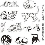 set of outline cats. black and... | Shutterstock .eps vector #133471748