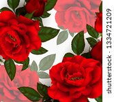 beautiful bouquet with red... | Shutterstock .eps vector #1334721209