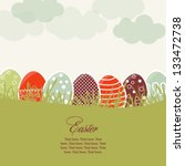 Card with colorful Easter eggs - stock vector