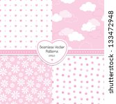 vector set of 4 seamless... | Shutterstock .eps vector #133472948