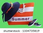 orange stripe beach bag  hat...   Shutterstock . vector #1334735819