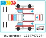 cut and glue a paper car.... | Shutterstock .eps vector #1334747129
