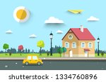 car on street with family house ... | Shutterstock .eps vector #1334760896