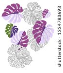 vector tropical pattern with... | Shutterstock .eps vector #1334783693